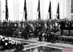 Funeral service for the Chief of the General Staff of the Air Force Lieutenant General Wever in the Court of Honor of the Reich Aviation Ministry, June 6, 1936; From right to left: The Commander in Chief of the Wehrmacht Field Marshal von Blomberg, Hitler, and the Commander in Chief of the Air Force Colonel General Goering next to the widow and her two sons Günther and Walther W., both in the uniform of Hitler Youth.