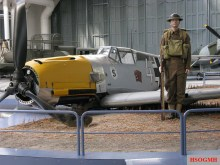 Tableau of crashed Bf 109E in Hangar 4 at Duxford, United Kingdom.