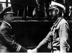 13 July 1942: Kapitänleutnant Günter Kuhnke (left, Kommandant U-125) welcomes fellow U-boat commander, Kapitänleutnant Helmut Witte (Kommandant U-159), who just returning to the base of 10. Unterseebootsflottille at Lorient, France, after sank 12 steamers in American waters.