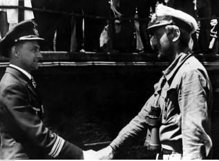 13 July 1942: Kapitänleutnant Günter Kuhnke (left, Kommandant U-125) welcomes fellow U-boat commander, Kapitänleutnant Helmut Witte (Kommandant U-159), who just returning to the base of 10. Unterseebootsflottille at Lorient, France, after sank 12 steamers in American waters.