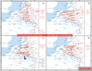 The evolution of German plans for Fall Gelb, the invasion of the Low Countries. The series begins at the left upper corner.
