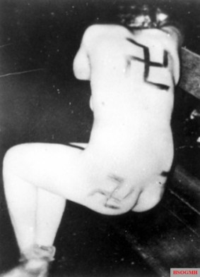 Rape and torture of a French Civilian who had a relationship with a German soldier by members of the French Resistance.