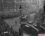 Tanks on parade in London at the end of World War I.