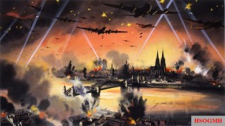 Official British war art imagining a bombing raid on Cologne. The city's cathedral is clearly visible. It survived the war, despite being hit dozens of times by Allied bombs.