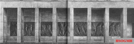 "Pillar hall with stone relief ""Fahnenkompanie"" by Arnold Waldschmidt, completed in 1941."