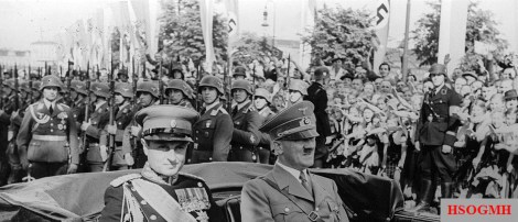 Prince Regent Paul of Yugoslavia in June 1939 on a state visit to Berlin; On March 25, 1941, he instructed his government to join the Tripartite Pact between Germany, Italy and Japan. The contract is still signed in Vienna's Belvedere Palace.