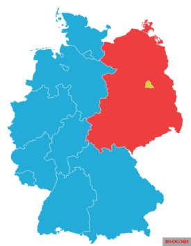 West Germany (blue) and West Berlin (yellow) after the accession of the Saarland in 1957 and before the five Länder from the GDR and East Berlin joined in 1990.