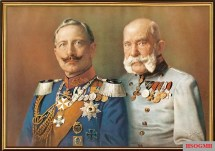 'In Fidelity' - German Confession of Emperor Wilhelm II and Emperor Franz Josef I., oil painting by E. Bieler, Berlin, circa 1910.