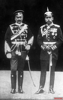 Wilhelm II with Nicholas II of Russia in 1905, wearing the military uniforms of each other's army.