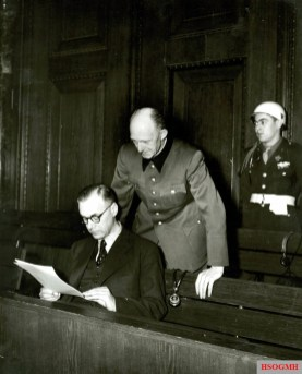 Alfred Rosenberg and Alfred Jodl at the Nuremberg Trials.