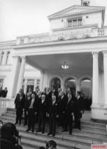 The Brandt cabinet of 1969 on the steps of President Heinemanns's residence in Bonn, the Villa Hammerschmidt.
