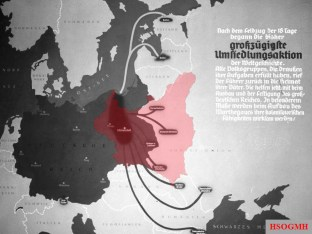 "Origin of ethnic German colonisers, resettled into German-annexed and occupied Poland during ""Heim ins Reich"" action. Poster superimposed with the red outline of Poland missing from the original print."