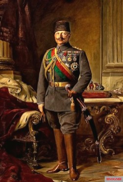 Emperor Wilhelm II in the uniform of the Ottoman army with men's Fez in the Imperial Embassy Palace. Oil painting by Max Fleck, 1916.