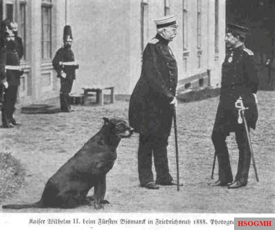 Kaiser Wilhelm II with Otto von Bismarck in 1888.