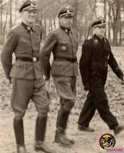 "SS-Sturmbannführer Heinrich ""Hein"" Springer, SS-Oberführer Fritz Witt, and SS-Hauptsturmführer Georg Isecke."