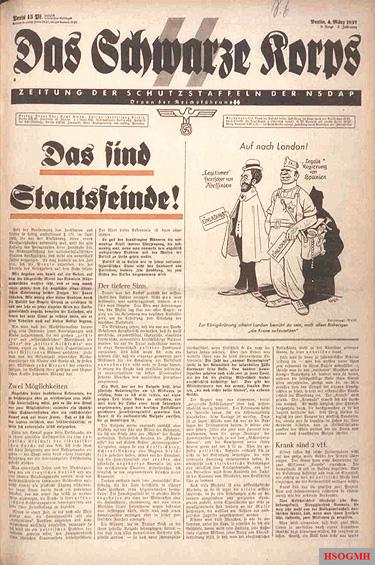 Das Schwarze Korps, 1937 edition.