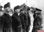 Heitz reviews a formation of Hungarian and German soldiers in the Soviet Union, 1942.