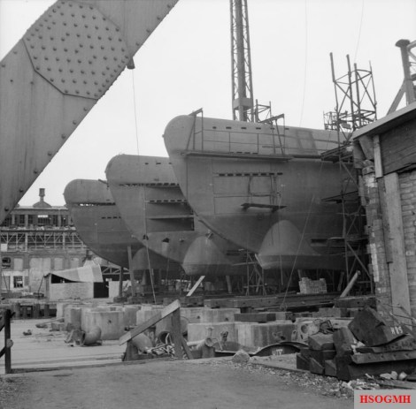 Incomplete German U-boats abandoned at the Blohm and Voss shipyard in Hamburg, 4 May 1945.