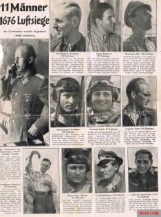 """11 Männer 1676 Luftsiege (11 Man 1676 Air Victory): Newspaper article from the end of 1944 about Jagdgeschwader 52 (JG 52). They were as follow: Oberstleutnant Dietrich """"Dieter"""" Hrabak, Oberleutnant Erich """"Bubi"""" Hartmann, Major Gerhard """"Gerd"""" Barkhorn, Hauptmann Wilhelm """"Willi"""" Batz, Oberleutnant Otto Vönnekold/Fönnekold, Leutnant Franz Schall, Leutnant Karl """"Charlie"""" Gratz, Hauptmann Adolf Borchers, Oberleutnant Friedrich """"Fritz"""" Obleser, Leutnant Hans-Joachim Birkner, and Leutnant Anton """"Toni"""" Resch."""