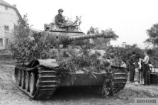 Panther tank with bush camouflage in Northern France, 1944.