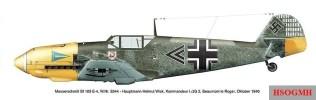 """Bf 109 E-4 """"Schwarzer Doppelwinkel"""", Werknummer 5344, flown by Major Wick, October 1940."""