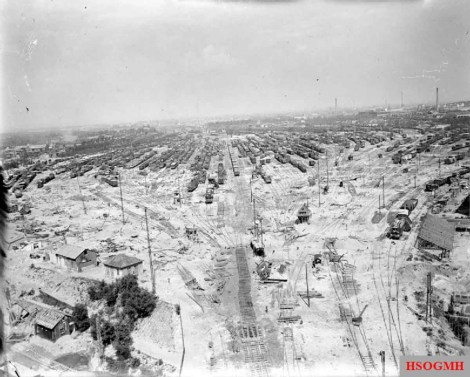 Bomb damage to the Nuremberg rail yards.