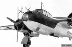 Nose of prototype Do 17Z-10 Kauz II night fighter, similar to that of the Do 217J, equipped with Matratze (mattress) 32-dipole radar antenna for its UHF-band early model Lichtenstein BC AI radar gear.