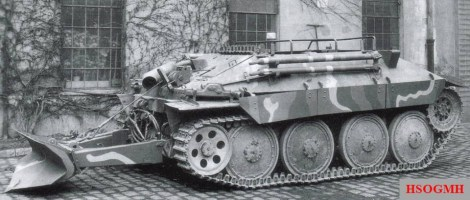 Bergepanzer 38(t) with a rear low spade down at BMM in February 1945.