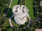 The damaged battle tower in Vienna's Augarten - aerial view.