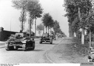 German armour advancing into Belgium.