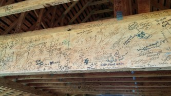 Beam covered in signatures from Disneyland.