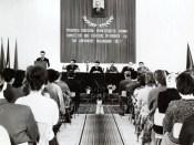 1965 - Nicolae Ceauşescu la tribună sub portretul lui Gheorghe Gheorghiu Dej Fototeca online a comunismului românesc