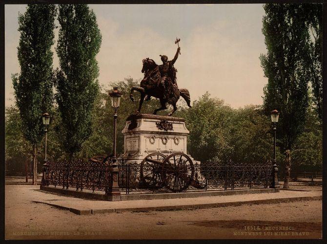 Statuia lui Mihai Viteazul din Bucuresti la 1890