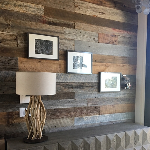 Malibu, CA private residence – Brown and Gray Barn Wood accent wall in bathroom, unfinished.