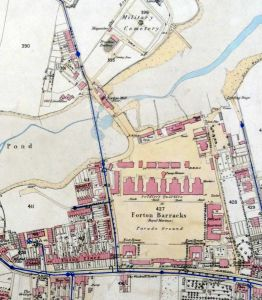 Forton Tide Mill and Forton Barracks on a map of 1863