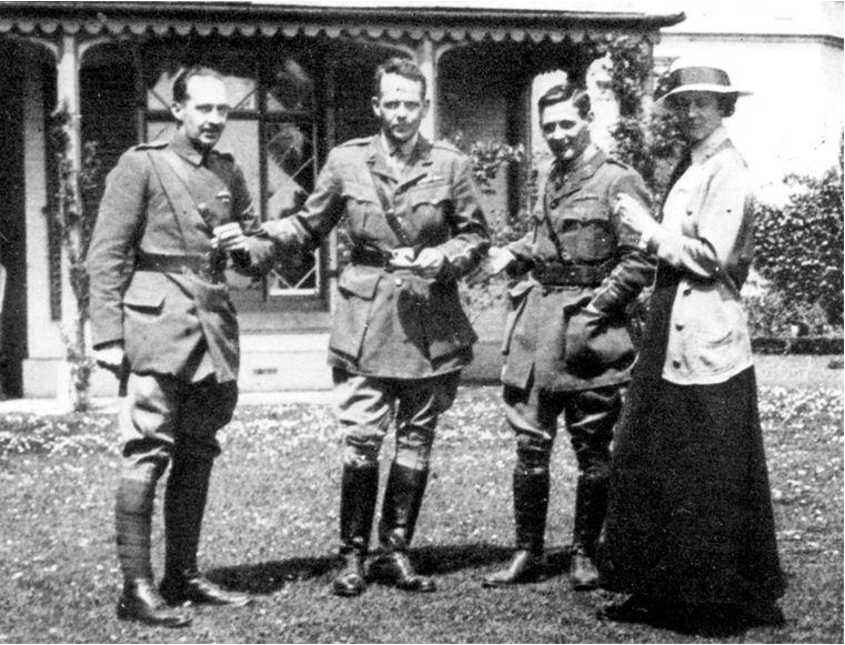 Captain Moore (left) photographed with Captain Parker , Smith Barry and his wife Kitty at Alverbank.