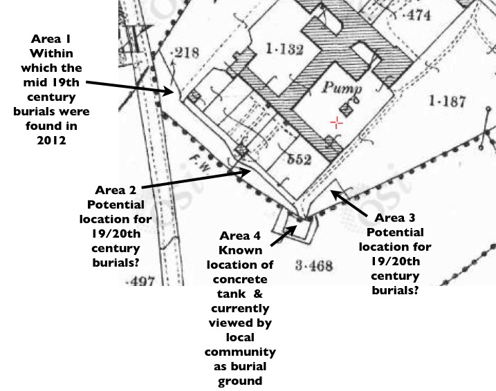 Where to look for burials in the Tuam Union Workhouse