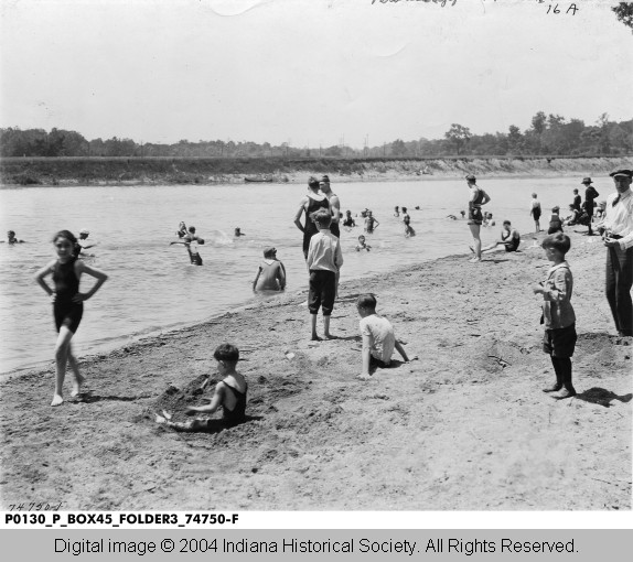 The Broad Ripple Park bathing beach was on White River a short distance east of Arden and Warfleigh neighborhoods  (photo courtesy of INDIANA HISTORICAL SOCIETY)