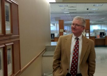 Commissioner Casey Tighe checks out the Judge's Wall.
