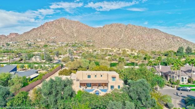 drone aerial,arcadia,drone picture,phoenix,arcadia,neighborhood,pueblo revival,historic,adobe construction,real estate,camelback mountain,5725 e camelback