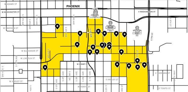warehouse district,downtown,historic,phoenix,az,loft style,homes,neighborhood,map,commercial,industrial,