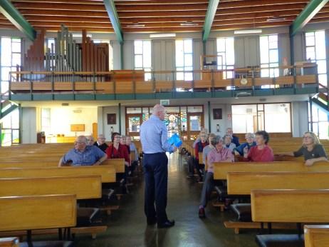 Fr David Dowling talking to members at St Francis de Sales Catholic Church