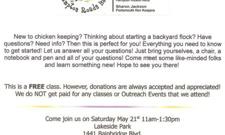 Free Backyard Chicken Keeping 101 Class to be held 11 a.m. May 21, Lakeside Park