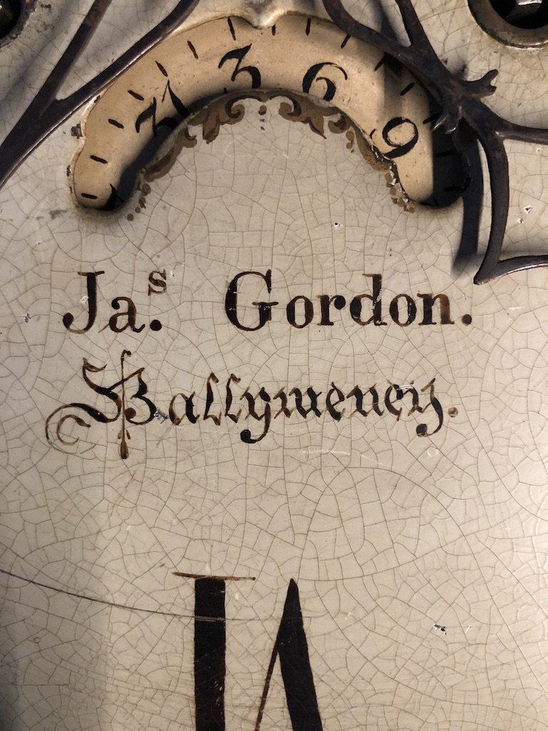 Grandfather Clock Face Closeup of Clockmaker James Gordon Ballymoney Ireland