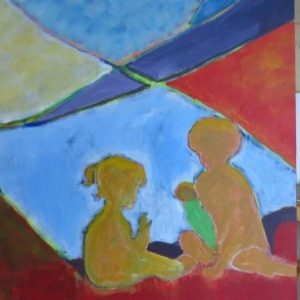 Pia Sigmund maleri med børn
