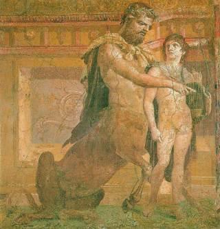 Chiron geeft Achilles les - Romeins fresco