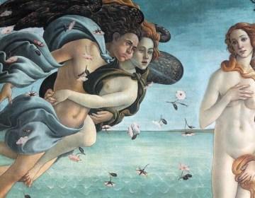 Zephyros op het schilderij 'De geboorte van Venus'