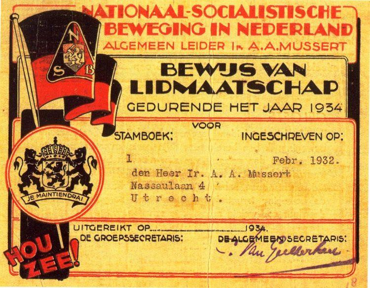 Musserts lidmaatschapskaart (1934) van de NSB