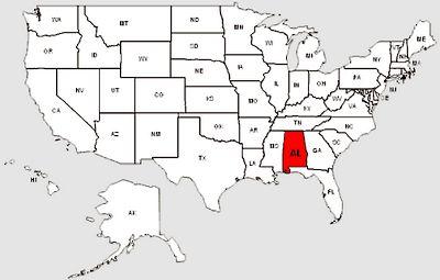 De staat Alabama in het rood gemarkeerd
