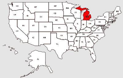 De staat Michigan in het rood gemarkeerd